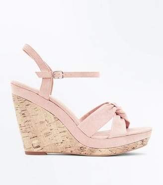 New Look Nude Suedette Knot Strap Cork Wedges