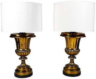 One Kings Lane Vintage Brass Task Lamps - Set of 2 - La Maison Supreme