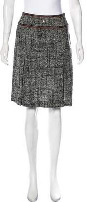 Courreges Leather-Trimmed Tweed Skirt