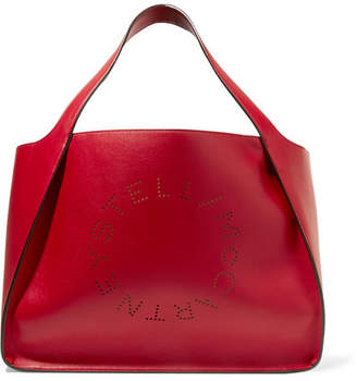 Stella McCartney Perforated Faux Leather Tote - Red