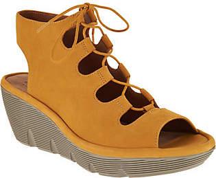 Clarks Artisan Leather Ghillie Wedge Sandals -Clarene Grace