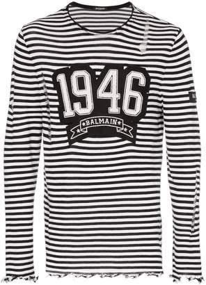 Balmain distressed striped long sleeve shirt