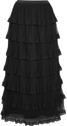 REDValentino - Tiered Georgette And Plissé-tulle Maxi Skirt - Black $955 thestylecure.com