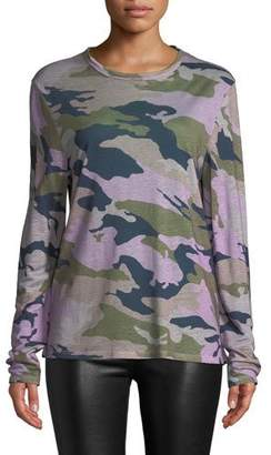 Zadig & Voltaire Willy Lin Camo-Print Crewneck Long-Sleeve Linen Top