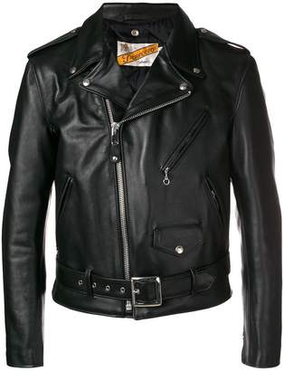 Schott off-centre zip biker jacket