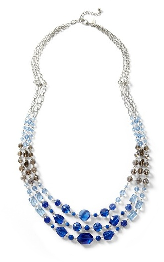 White House Black Market Blue Ombre Faceted Multi-Strand Necklace