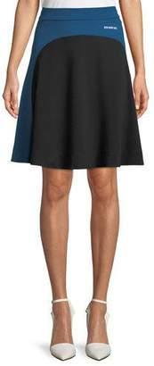 Calvin Klein Flippy Back-Zip A-Line Jersey Knee-Length Skirt