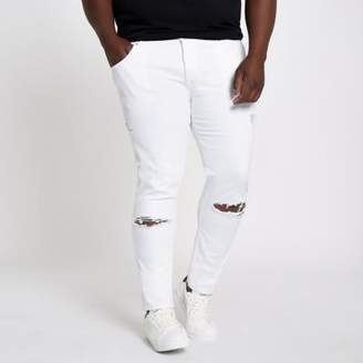 River Island Mens Big and Tall white Eddy ripped skinny jeans