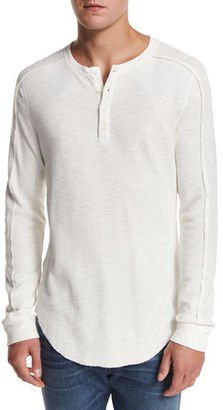 Vince Ribbed Raw-Edge Henley T-Shirt $145 thestylecure.com
