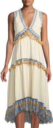 Leon Max Embroidered-Ruffle Tiered Gauze Dress