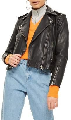 Topshop Strike Leather Biker Jacket