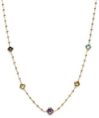 """Bloomingdale's Beaded Multi Gemstone Clover Station Necklace in 14K Yellow Gold, 19"""" - 100% Exclusive"""