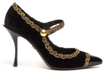 Dolce & Gabbana Passementerie Trim Mary Jane Velvet Pumps - Womens - Black Gold