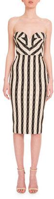 Victoria Beckham Strapless Wavy-Gingham Dress, Black/White