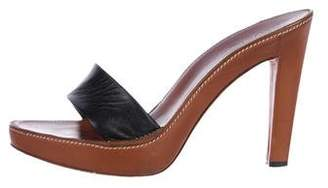 Saint Laurent Leather Strap Platform Sandals