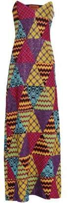 Missoni Strapless Patchwork-effect Metallic Crochet-knit Maxi Dress