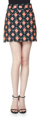 Milly Diamond-Print A-Line Mini Skirt, Multi Colors $250 thestylecure.com