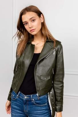 J.ING Moss Green Leather Moto Jacket