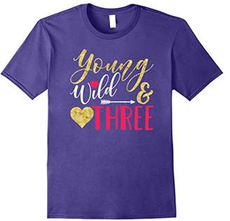"""Girl Youth TShirt """"Young Wild and Three!"""""""