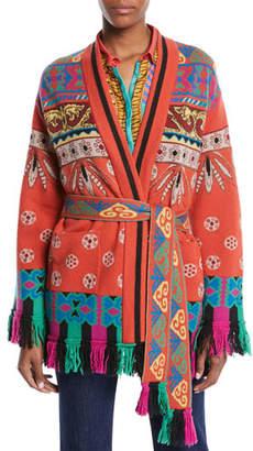 Etro Western-Intarsia Belted Wool-Blend Sweater w/ Fringe