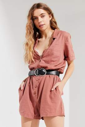 Urban Outfitters Out + About Linen Shirt Romper