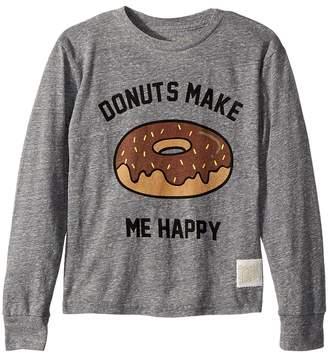 The Original Retro Brand Kids Donuts Make Me Happy Long Sleeve Tri-Blend T-Shirt Boy's T Shirt