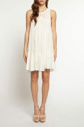 Dex Crochet Detail Ruffle Hem Dress