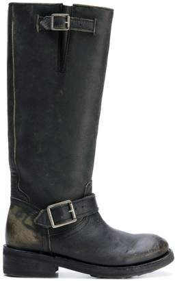 Ash distressed knee-high boots