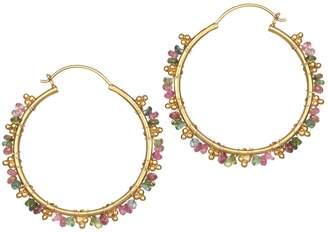 Satya Tourmaline Wrap Hoop Earrings, Goldtone Brass
