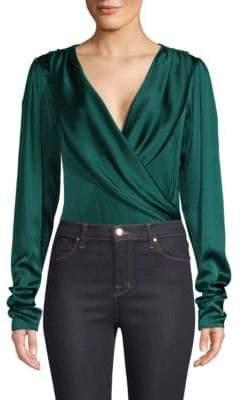 Caroline Constas Berdine Stretch Silk Wrap Bodysuit