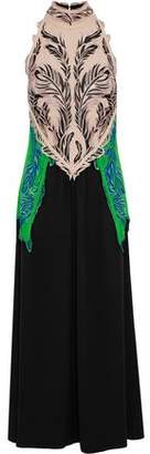 Roberto Cavalli Embroidered Tulle-paneled Color-block Crepe Gown