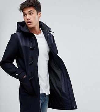 Jack and Jones Originals Wool Duffle Coat With Shoulder And Hood Detail