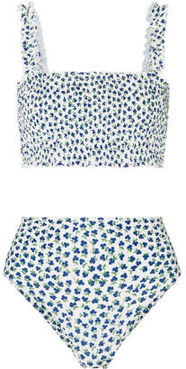 Faithfull The Brand Holly And Chiara Shirred Floral-print Bikini - Blue