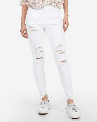 Express Mid Rise White Ripped Stretch Jean Ankle Leggings