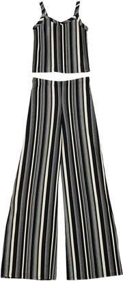 Sally Miller The Catte Stripe Crepe Crop Top w/ Matching Wide Leg Pants, Size S-XL