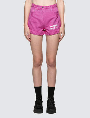 MSGM Devore' Solid Color Bull Denim Shorts