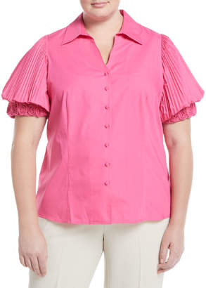 Go Silk Rosette-Sleeve Button-Front Blouse, Plus Size