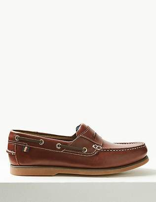 """Marks and Spencer Leather Slip-on Boat Shoes with Freshfeetâ""""¢"""