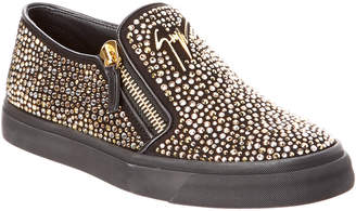Giuseppe Zanotti Embellished Leather Slip-On Sneaker