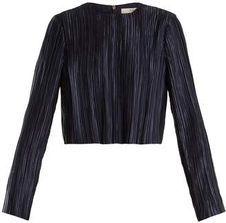Tibi Plissé-pleated long-sleeved cropped top