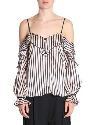 Self-Portrait Self Portrait Striped Satin Top