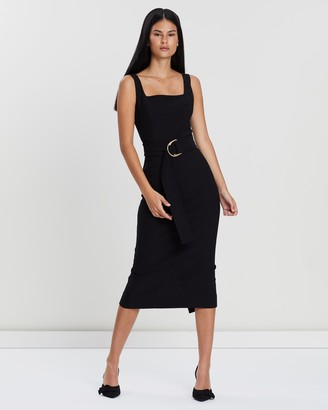 Shona Joy Square Neck Fitted Midi Dress