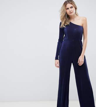 Asos Tall DESIGN Tall one shoulder plisse jumpsuit