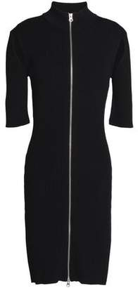 McQ Zip-Detailed Cutout Ribbed-Knit Mini Dress