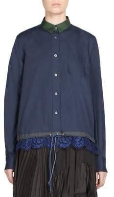 Sacai Lace Button-Front Shirt
