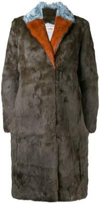 Yves Salomon Meteo contrast collar coat