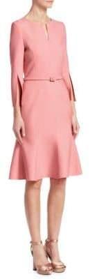 Oscar de la Renta Slit-Sleeve A-Line Cocktail Dress