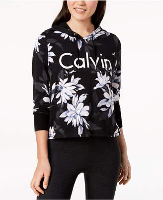 Calvin Klein Printed Cropped Hoodie