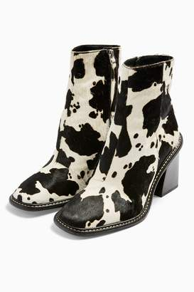 Topshop HUGH Leather Black and White Cow Print Boots