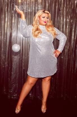 boohoo Gemma Collins High Neck Sequin Shift Dress